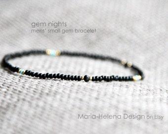 gem nights mens bracelet - mens small gem bracelet black - MariaHelenaDesign