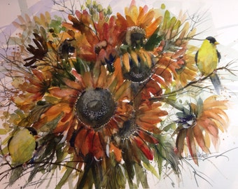 Sunflowers and finches