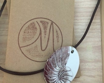 Large Oval Shell Artwork Necklace