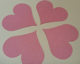 12 Large Pink Valentine Hearts Die Cuts Confetti 3 inch Sparkle