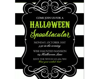Halloween Invitation Printable or Printed with FREE SHIPPING- ANY Wording - Black Stripe Lime Collection