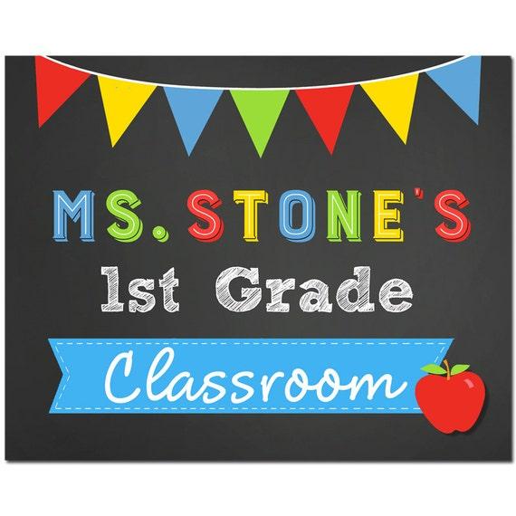 personalized teacher classroom door sign yard sign printable. Black Bedroom Furniture Sets. Home Design Ideas