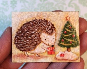 Hedgehog Christmas Magnet by Megumi Lemons