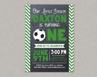 Soccer Invitation, Soccer First Birthday Invitation, First Birthday Invitation