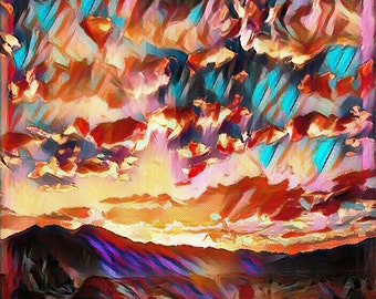 Landscape Nature Lake Manipulated Abstract Art Photo for Download or Print
