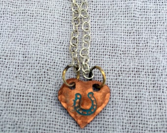 Necklace with Handmade Copper Heart Charm Strung on Silver Chain, Braided Leather, or Braided Horse Hair