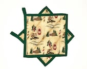 Pot Holders Quilted Lodge Cabin Rustic Country Decor Green Potholders Set of 2