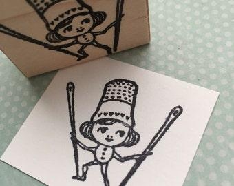 Little Needle Girl  Wood Mounted Rubber Stamp 5735