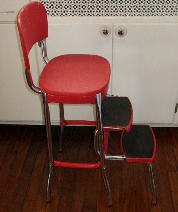 Vintage Cosco Stylaire Step Stool Red Vinyl Seat Amp Back Mid