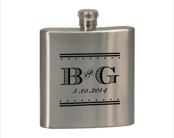 Personalized Stainless Steel Flask - Custom Engraved Groomsman Flask - Personalized Bridesmaid Flask - Wedding Gift Flask