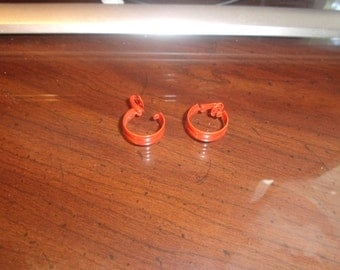 vintage clip on earrings orange metal enamel hoops