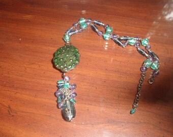 vintage necklace silvertone green enamel metal pendant purple turquoise glass beads