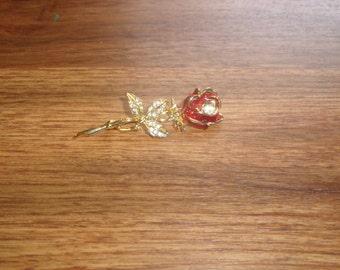 vintage pin brooch red rose rhinestones