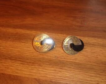 vintage clip on earrings brass engraved birds black lucite
