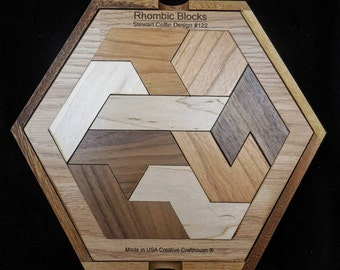 Rhombic Blocks – Stewart Coffin design #122  brain teaser puzzle