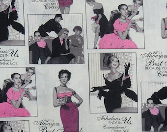 Fabulous Best Friends Fabric, 3 Yards, Coffee, Wine, and Girlfriends, 1950s Friends, Sat Evening Post, 1950s Ladies, Retro Style