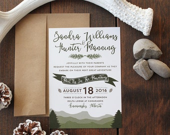 Boho Mountain Wedding Invitation Hipster Canadian Rockies Modern Camping