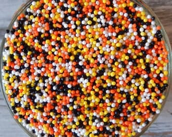 Sprinkles, 3 oz - Construction Non Pareils Mix (orange, yellow, white, black) - For Cupcakes - Ice Cream - Cake Pops - Pretzels - Cakes