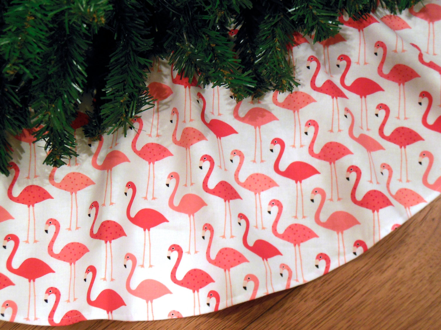Pink Flamingo Christmas Tree Skirt Miami Christmas Flamingos