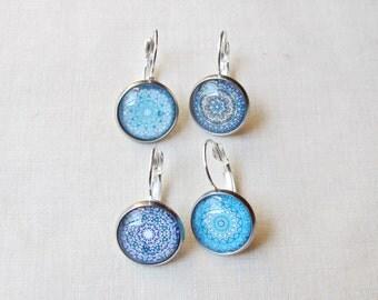 Mandala Stitch Marker Set. Crochet Knitting Earrings Removable. Silver Leverback Blue Ombre Pink. Purple Earth Domum Vindemia Boho Craft