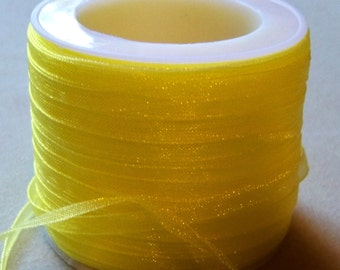 """Yellow Organza Ribbon-1/8""""-10 YDS"""