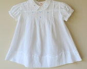 White Batiste Baby Dress 12 -18 Months Blue Embroidery Hand Made Pec-togs 810a