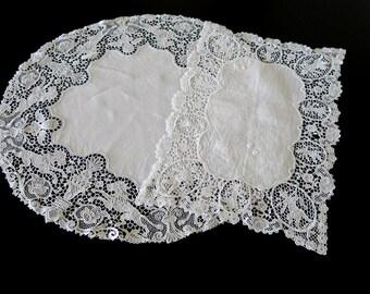 2 White Linen Plauen Lace Doilies Cloths German Lace 334b