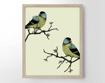 Two Birds On Branches, Minimalist Art, Home Decor, Wall Art, Wedding Gift, Housewarming Gift, Engagement Gift, Love, Birds, Nature, Tree