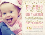 Twinkle Twinkle Little Star Birthday Invitation, PRINTABLE Little Star First Birthday, Twinkle Twinkle Little Star Invitation, ID: BD125900