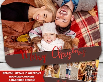 Merry Christmas Red Foil Holiday Photo Card, Printed Christmas Photo Cards, Red Metallic Photo Card, Christmas Photo Card Printed