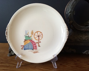 Padded City Pottery Lady at Spinning Wheel Serving Plate / Platter, Collectible Plate Made USA  Farmhouse Country Decor