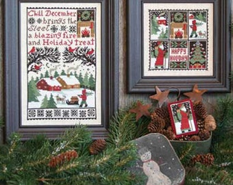 December Book No. 150 Christmas cross stitch pattern by Prairie Schooler at cottageneedle.com Santa Claus woodland reindeer embroidery