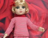 "Fits 10"" Patsy-Tonner Doll . Red/White Stripe Long Sleeve T-Shirt . D298"