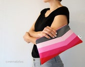Pink Ombre Clutch by MinneBites / Valentines Gift for Her - Handmade Purse - Bright Pink Red Handbag - Vegan Cosmetic Pouch - Ready to Ship