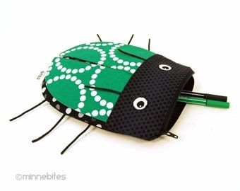 Beetle Pencil Pouch - Emerald Green Boys Bag - Toiletry Kit - Pencil Case - Insect Bug Bag - Boys Zipper Pouch - School Bag - Ready to Ship