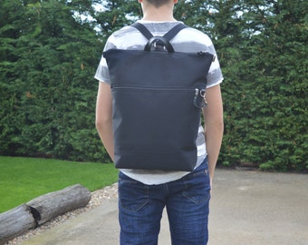 Large Black Canvas Backpack, Unisex Zippered Functional Bag, Minimalist Vegan Rucksack For Men, Unique gift for College Students