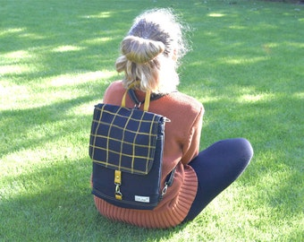 Black Mini Canvas Backpack, UNISEX 2in1 Rucksack, Unisex Convertible Bag, Husband 11 inch Laptop Carrier, birthday gift son daughter