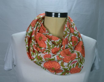 Cotton Floral Scarf for Women Lightweight Cotton Scarf Orange and Green Infinity Scarf Loop Scarf