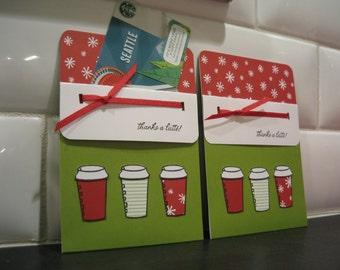 Christmas Gift Card Holder, Gift for Mailman, Coffee Lover Gift, Teacher Appreciation Gift, Gift Card Envelope