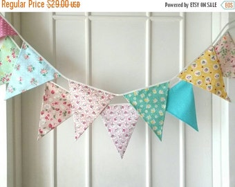 SUMMER SALE Shabby Chic Fabric Banners, Bunting, Garland, Wedding Bunting,  Flags - 3 yards (9th version)