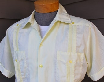 vintage 1970's -Tony- Men's guayabera shirt. Sheer Canary Yellow batiste w/ matching pleats. Made in Yucatan, Mexico. Medium - Large