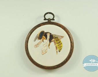Hoop Art Hand Embroidered Bee