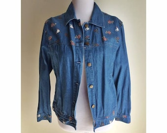 Denim Chicken and Rooster Print Jacket