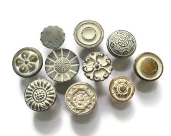 CLEARANCE Lot of 10 vintage drawer knobs - All different - Brass and Cream - Eclectic Collection