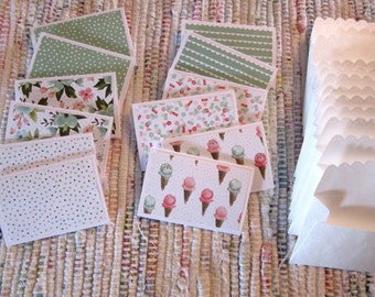 Little Note Cards and Envelopes  Set of 12  Package  #3