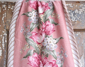 Country Cottage Chic Pink Floral Vintage Nubby Barkcloth Drapery Remnant Panel Curtain Fabric
