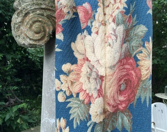 Vintage 1930s Floral Roses Barkcloth Fabric Drapery Panels Drapes Curtains Pillows Cushion