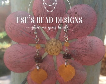 Cranberry Beech Leaf Earrings