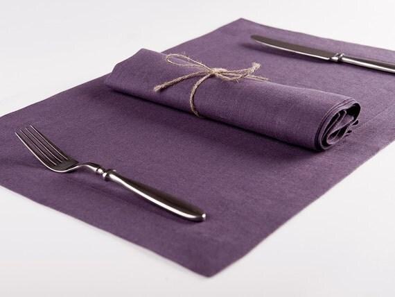 Violet linen napkin or place mat Set for six, Cloth napkins and placemats, Violet napkins, Violet placemats
