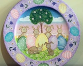 Easter Folk Art Painting Wood Plate -MADE TO ORDER- Spring Easter Eggs, Bunnies, Original Spring Scene Primitive Decor, Pastel Colors, Ooak,